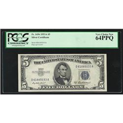 1953A $5 Silver Certificate Note PCGS Very Choice New 64PPQ