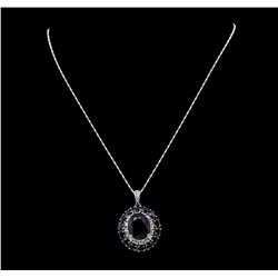14KT White Gold 18.79ctw Sapphire and Diamond Pendant with Chain