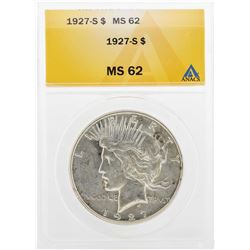 1927-S $1 Peace Silver Dollar Coin ANACS MS62
