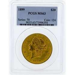 1899 $20 Liberty Head Double Eagle Gold Coin PCGS MS63