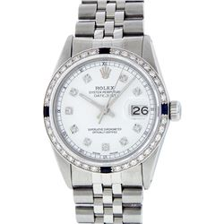 Rolex Mens Stainless Steel Sapphire and Diamond Datejust Wristwatch