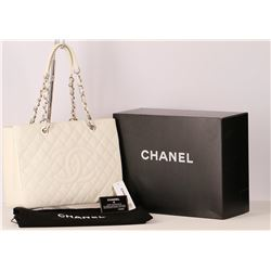Authentic Chanel Grand Shopping Tote White Caviar Leather Silver Hardware GST