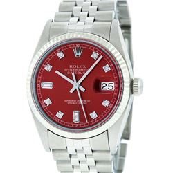 Rolex Mens Stainless Steel and Diamond Datejust Wristwatch