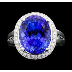 Platinum 9.99ct Tanzanite and Diamond Ring