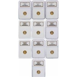 Lot of (10) $5 American Gold Eagle Coins NGC MS69