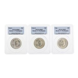 Set of (3) 1946/D/S Booker T. Washington Half Dollar Coins PCGS MS65