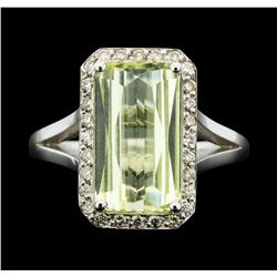 14KT White Gold 3.90ct Lemon Quartz and Diamond Ring