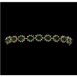 14KT Yellow Gold 6.49ctw Emerald and Diamond Bracelet