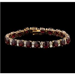 14KT Rose Gold 35.18ctw Ruby and Diamond Bracelet