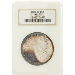 1882-S $1 Morgan Silver Dollar Coin w/ Nice Toning NGC MS65