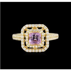 14KT Yellow Gold 0.67ct Amethyst and Diamond Ring