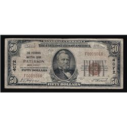 1929 $50 Patterson New Jersey National Currency Note
