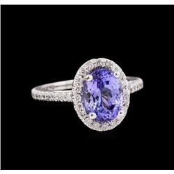 14KT White Gold 2.32ct Tanzanite and Diamond Ring