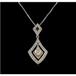 14KT Two-Tone Gold 0.40ctw Diamond Pendant With Chain