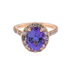 14K Rose Gold 4.36ct Tanzanite and Diamond Ring