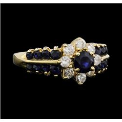14KT Yellow Gold 1.10ctw Sapphire and Diamond Ring