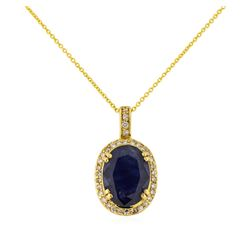 14KT Yellow Gold 8.10ct Sapphire and Diamond Pendant with Chain