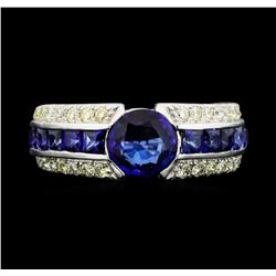 14KT White Gold 2.41ctw Sapphire and Diamond Ring