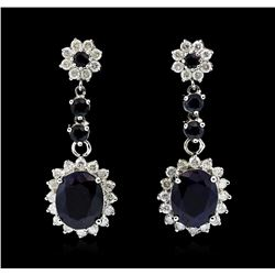14KT Whtie Gold 8.17ctw Sapphire and Diamond Earrings
