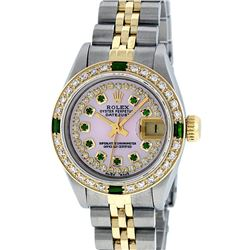 Rolex Ladies Two Tone 14KT Yellow Gold Emerald and Diamond Datejust Wristwatch
