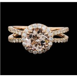 14KT Rose Gold 1.00ct Morganite and Diamond Ring