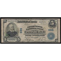 1902 $5 National Bank of Pittsburgh, PA National Currency Note