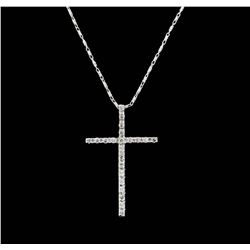 14-18KT White Gold 0.25ctw Diamond Cross Pendant with Chain