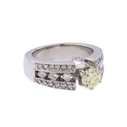 14KT White Gold 1.30ctw Fancy Light Yellow and White Diamond Engagement Ring