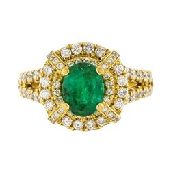 14KT Yellow Gold 1.32ct Emerald and Diamond Ring