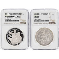 2010-P $1 Boy Scouts Commemorative Silver Coins NGC MS69 & PF69 Ultra Cameo