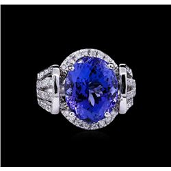 14KT White Gold 8.18ct Tanzanite and Diamond Ring