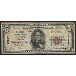 1929 $5 National Bank Note of Denver Colorado Charter #12517