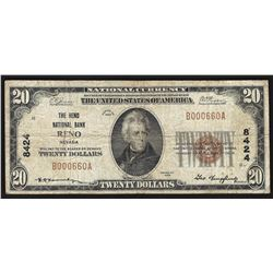 1929 $20 Reno Nevada National Currency Bank Note CH# 8424