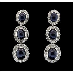 14KT White Gold 20.14ctw Sapphire and Diamond Earrings