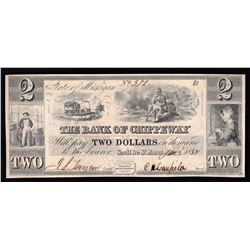 1838 $2 The Bank of Chippeway Obsolete Bank Note