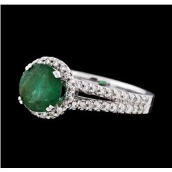 14KT White Gold 1.23ct Emerald and Diamond Ring