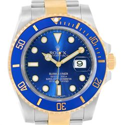 Rolex Submariner Steel 18K Yellow Gold Blue Dial Mens Watch