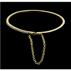 14KT Yellow Gold 1.00ctw Diamond Bangle Bracelet with Safety Chain