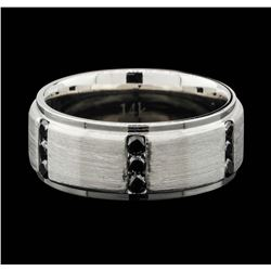 Mens 14K Brushed White Gold 0.90ctw Black Diamond Wedding Ring