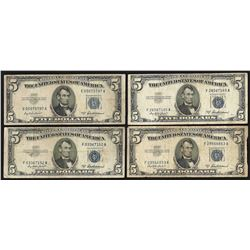 Lot of (4) 1953A $5 Silver Certificate Notes