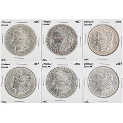 Set of (6) 1887 $1 Morgan Silver Dollar Coins UNC