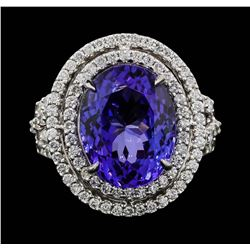 18KT White Gold 8.16ct Tanzanite and Diamond Ring