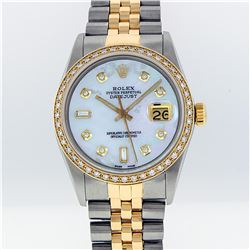 Rolex Mens Two Tone 14KT Yellow Gold 1.00ctw Diamond Datejust Wristwatch