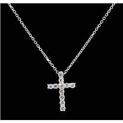14KT White Gold 0.25ctw Diamond Cross Pendant with Chain