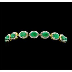 SILVER 12.22ctw Emerald and Diamond Bracelet