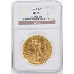 1922-S $20 St. Gaudens Double Eagle Gold Coin NGC MS65