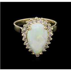 14KT Yellow Gold 1.00ct Opal and Diamond Ring