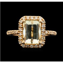 14KT Rose Gold 3.05ct Citrine and Diamond Ring