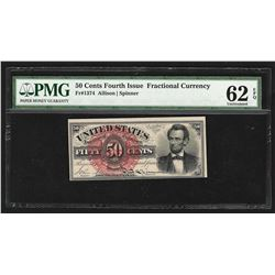 1863 Fifty Cents Fourth Issue Fractional Currency Note PMG 62EPQ