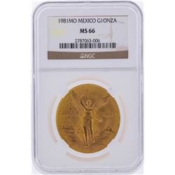 1981MO 1 Onza Mexico Gold Coin NGC Graded MS66